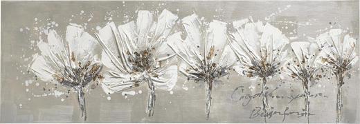Abstraktes, Blumen BILD - Weiß, LIFESTYLE, Holz/Textil (50/150cm)