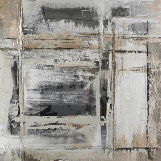 Abstraktes ÖLGEMÄLDE - Weiß/Grau, Design, Holz/Kunststoff (55/55cm) - Monee