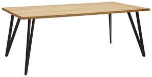 ESSTISCH Wildeiche massiv rechteckig Schwarz, Eichefarben  - Eichefarben/Schwarz, Design, Holz/Metall (180/100/76cm) - Valnatura