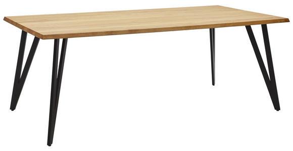 ESSTISCH in Holz, Metall 180/100/76 cm - Eichefarben/Schwarz, Design, Holz/Metall (180/100/76cm) - Valnatura