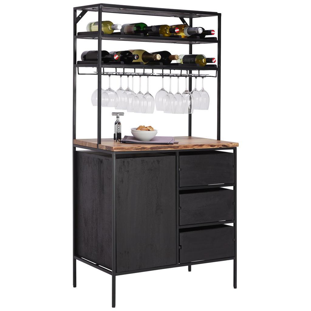 Ambia Home BAR Akazie massiv lackiert Schwarz, Braun   Küche und Esszimmer > Bar-Möbel > Bars   Braun   Holz   Ambia Home