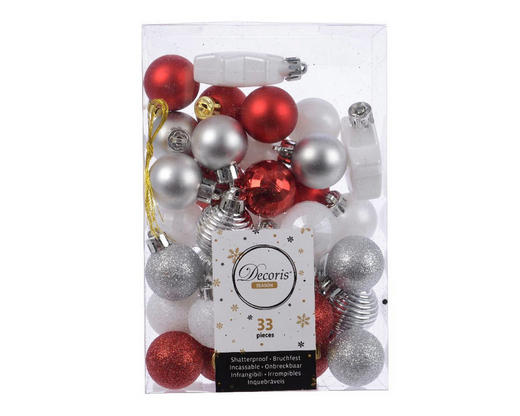 CHRISTBAUMKUGEL-SET  33-teilig Rot, Weiß - Rot/Weiß, Kunststoff (3cm)