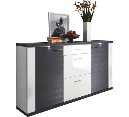 SIDEBOARD Graphitfarben, Weiß  - Chromfarben/Graphitfarben, Design, Holzwerkstoff/Kunststoff (194/107/42cm) - Xora