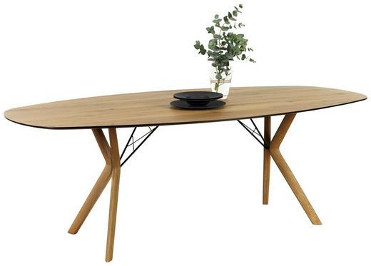 ESSTISCH in Holz, Metall 220/110/76 cm - Eichefarben/Schwarz, Design, Holz/Metall (220/110/76cm) - Lomoco