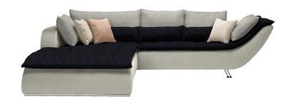 WOHNLANDSCHAFT Weiß, Hellgrau, Dunkelblau  - Chromfarben/Hellgrau, Design, Textil/Metall (220/300cm) - Hom`in