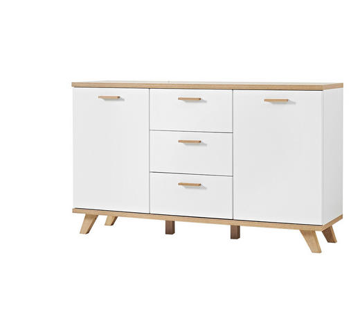 SIDEBOARD Weiß, Eichefarben  - Eichefarben/Weiß, Design, Holz/Holzwerkstoff (144/87/40cm) - Carryhome