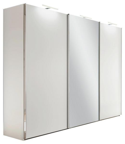 SCHWEBETÜRENSCHRANK 3 - 1 Spiegeltür-türig Weiß - Alufarben/Weiß, Basics, Glas/Holzwerkstoff (270/223/69cm) - Visionight