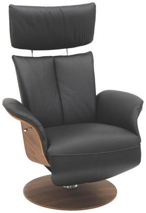 FÅTÖLJ - valnötsfärgad/svart, Design, läder/trä (74/119/82cm) - Hjort Knudsen