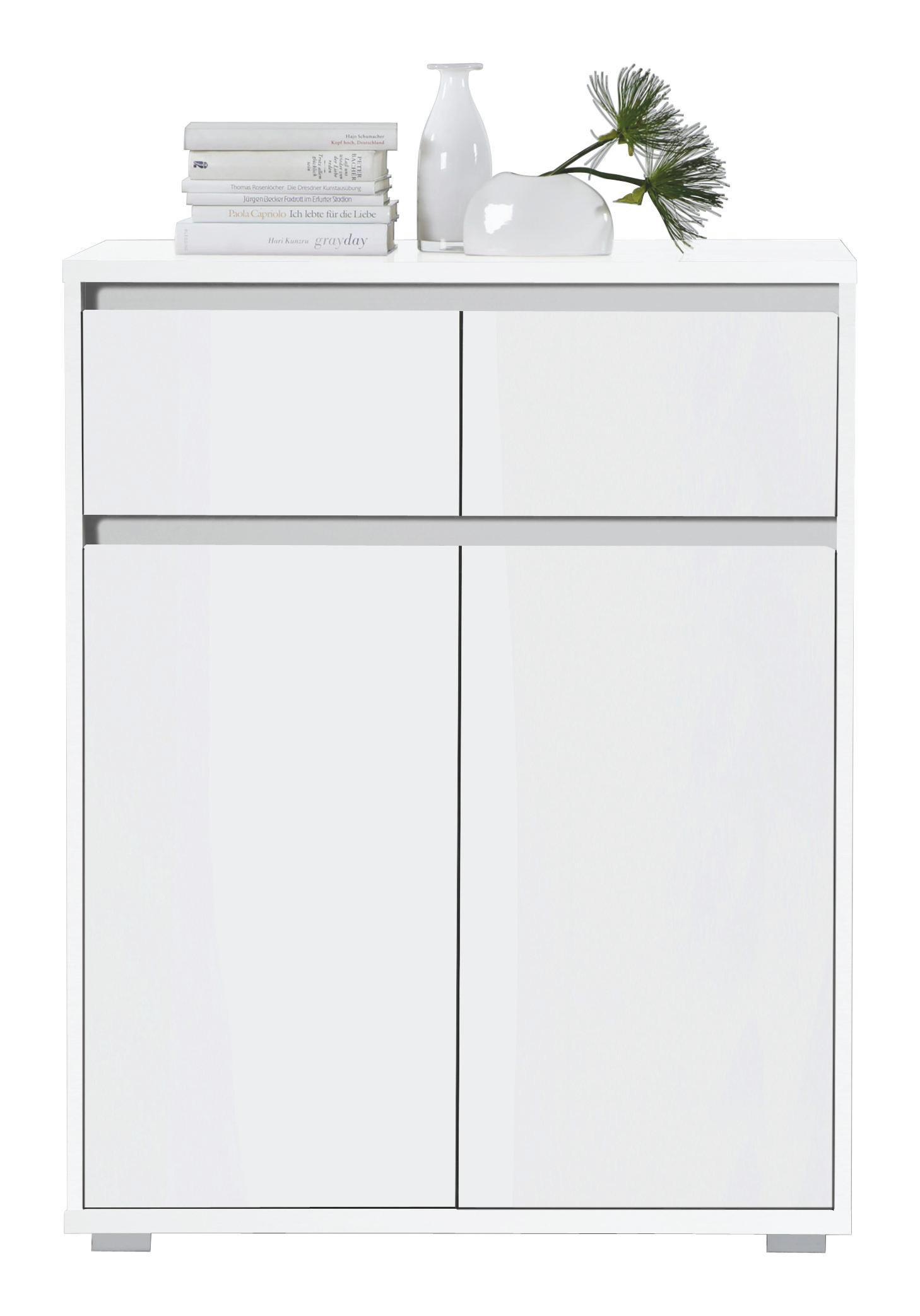 KOMODA - bela/srebrna, Design, leseni material (80/103/48cm) - BOXXX