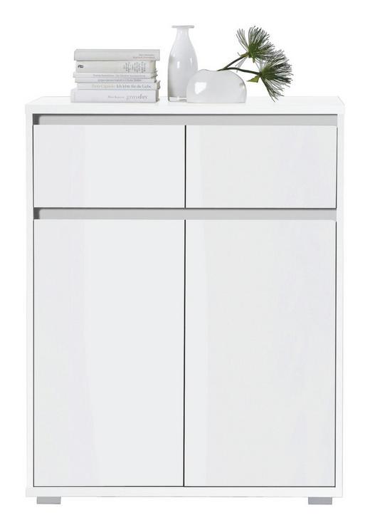 KOMODA, bela - bela/srebrna, Design, leseni material (80/103/48cm) - BOXXX