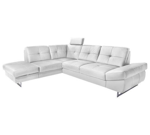 WOHNLANDSCHAFT in Textil Weiß - Chromfarben/Weiß, KONVENTIONELL, Textil/Metall (220/278cm) - Carryhome