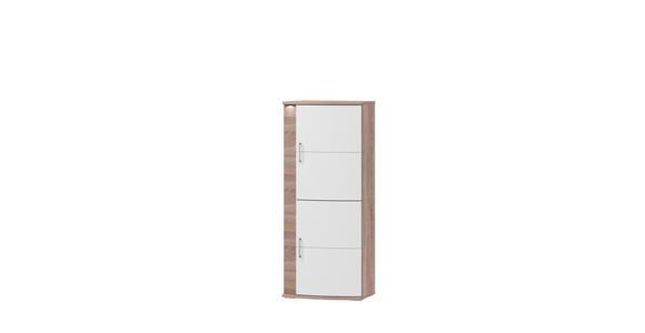 SCHRANK in Weiß, Eichefarben  - Eichefarben/Alufarben, Design, Holzwerkstoff/Metall (58,5/146,8/40,4cm) - Xora