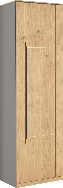 GARDEROBENSCHRANK Wildeiche teilmassiv gebürstet, Melamin Eichefarben, Grau - Eichefarben/Anthrazit, KONVENTIONELL, Glas/Holz (60/200/40cm) - VENDA