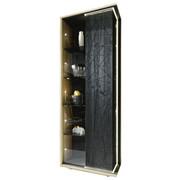 VITRINE Eiche, Lärche furniert, mehrschichtige Massivholzplatte (Tischlerplatte) Schwarz, Eichefarben  - Eichefarben/Schwarz, Natur, Glas/Holz (68,5/197,1/39cm) - Voglauer