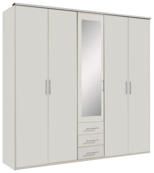 KLEIDERSCHRANK 5-türig Weiß - Silberfarben/Weiß, KONVENTIONELL, Glas/Holzwerkstoff (225/210/58cm) - Carryhome