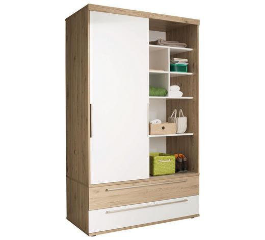 SCHIEBETÜRENSCHRANK in Weiß, Eichefarben - Eichefarben/Silberfarben, Design, Holzwerkstoff/Metall (164,1/206,9/63,9cm) - Paidi