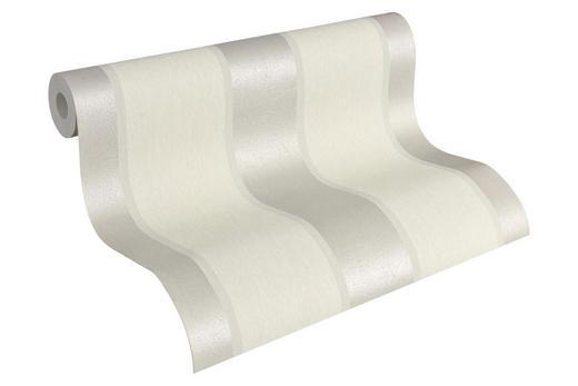 vliestapete gestreift 10,05 m - Perlmutt/Weiß, Basics, Textil (53/1005cm)