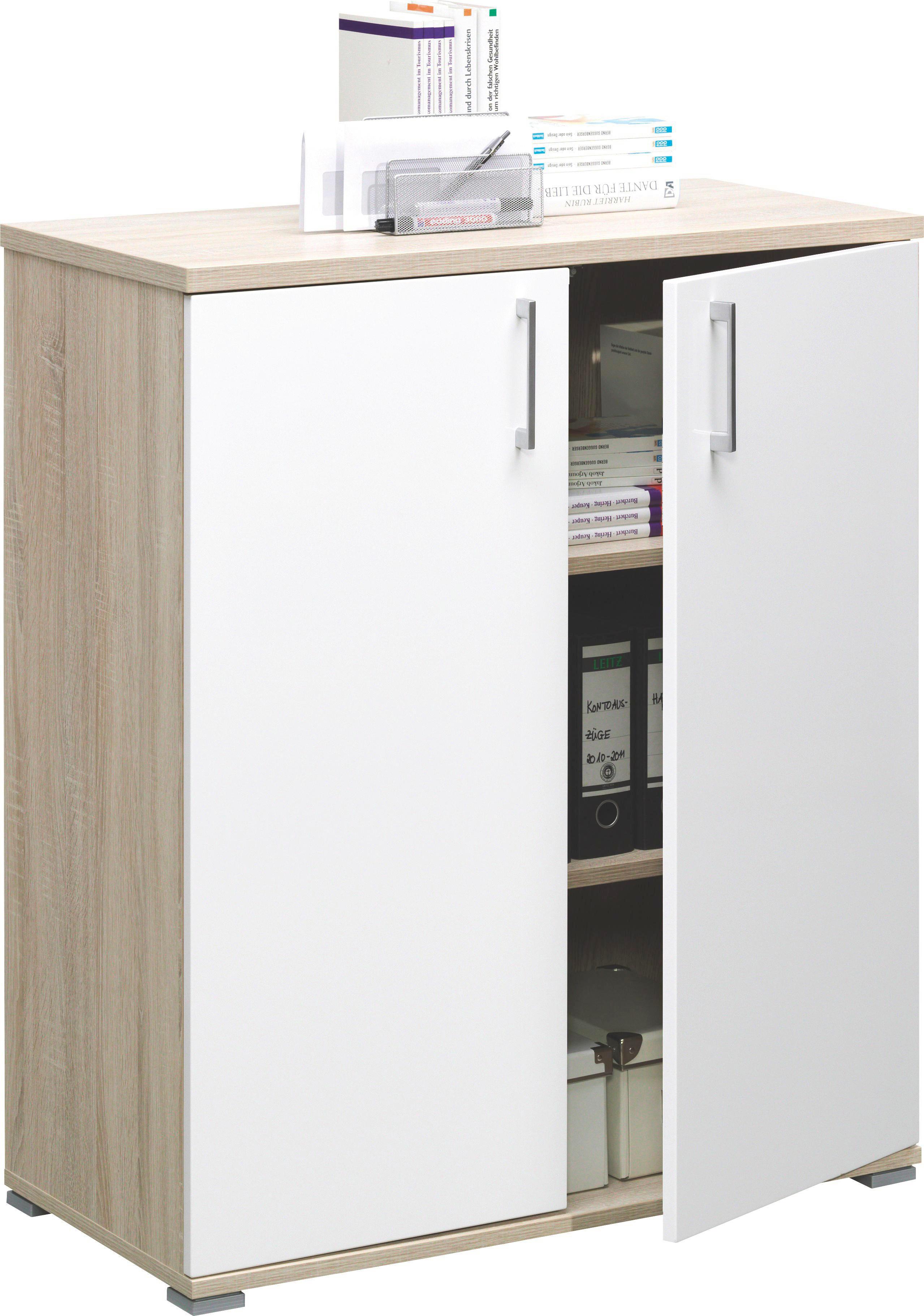 KOMMODE in Eichefarben, Weiß - Eichefarben/Silberfarben, KONVENTIONELL, Holzwerkstoff/Kunststoff (88/103/43cm)