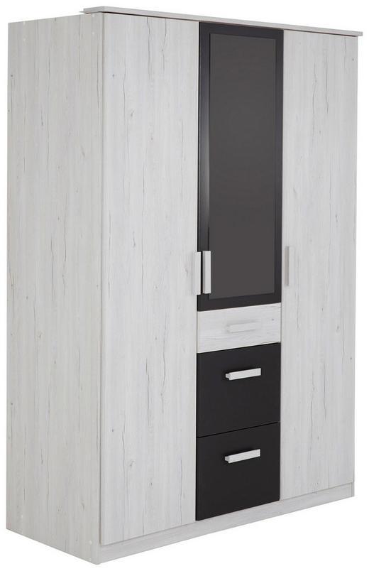 KLEIDERSCHRANK in Graphitfarben, Weiß - Graphitfarben/Weiß, Design, Holzwerkstoff/Kunststoff (135/199/58cm) - Carryhome