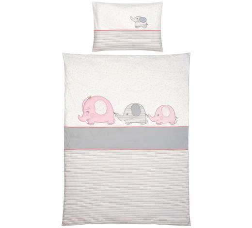 BABYBETTWÄSCHE - Pink/Weiß, Basics, Textil (100/135cm) - Patinio