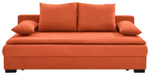 SCHLAFSOFA in Textil Orange  - Schwarz/Orange, KONVENTIONELL, Kunststoff/Textil (207/74-94/90cm) - Venda