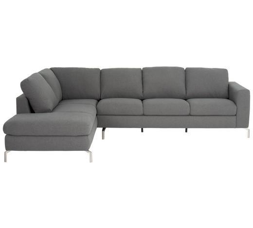 WOHNLANDSCHAFT in Textil Grau - Edelstahlfarben/Grau, Design, Textil/Metall (208/292cm) - Natuzzi Editions