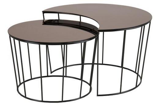 SET POMOĆNIH STOLIĆA - brončana/crna, Design, staklo/metal (55/40cm) - Carryhome