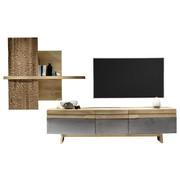 WOHNWAND Wildeiche furniert, massiv Grau, Eichefarben  - Eichefarben/Grau, Design, Holz/Metall (350/212/55cm) - Voglauer