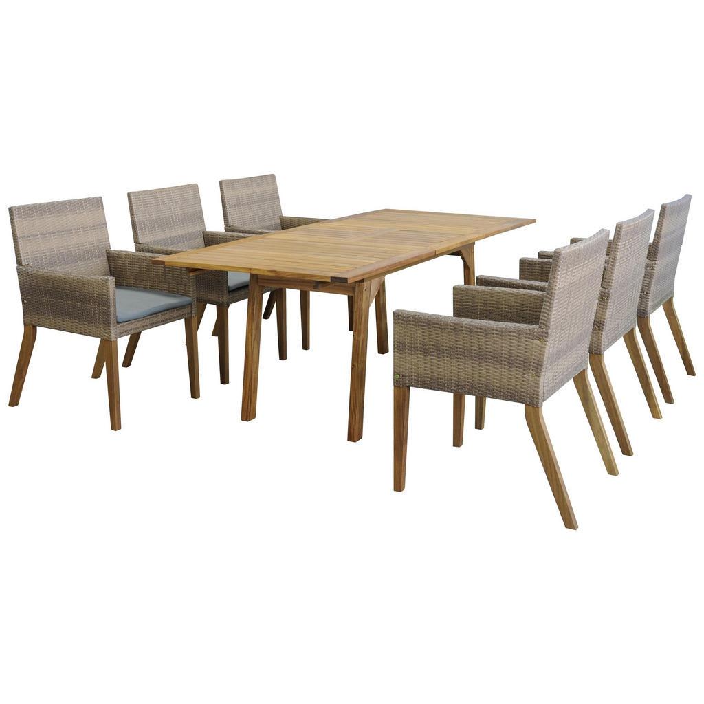 Sitzgruppe für den Garten aus Polyrattan und Akazienholz