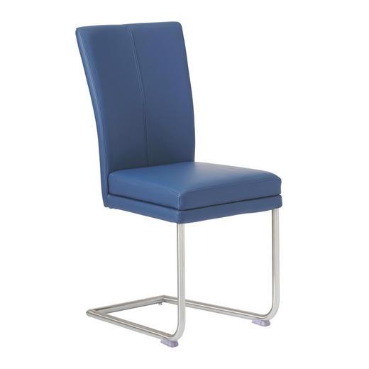 SCHWINGSTUHL Echtleder Blau, Edelstahlfarben - Blau/Edelstahlfarben, Design, Leder/Metall (44/98/58cm) - Valdera