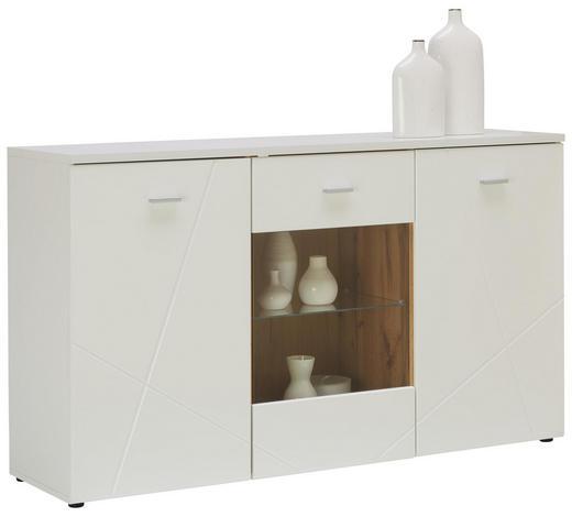 KOMMODE 150/88/42 cm - Eichefarben/Silberfarben, MODERN, Glas/Holzwerkstoff (150/88/42cm) - Hom`in