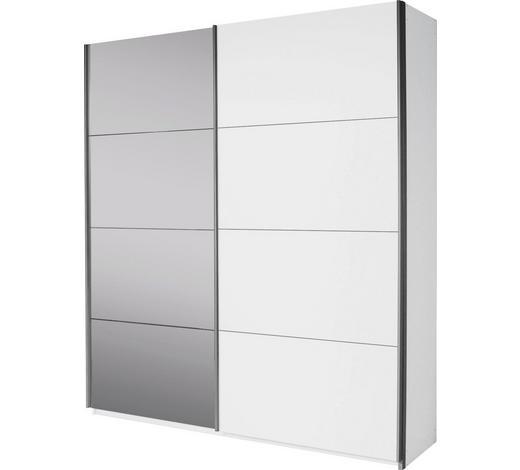 SCHWEBETÜRENSCHRANK 2-türig Weiß - Alufarben/Weiß, Design, Glas/Holzwerkstoff (181/210/62cm) - Carryhome