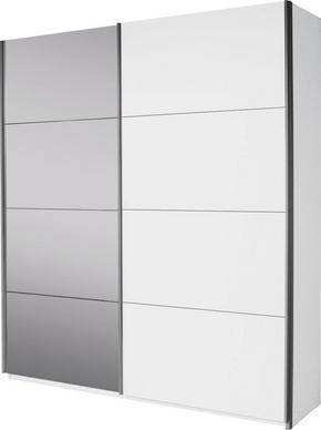SKJUTDÖRRSGARDEROB - vit/alufärgad, Design, metall/glas (181/210/62cm) - Carryhome
