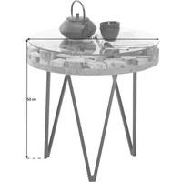 BEISTELLTISCH in Glas, Holz, Metall 50/50/50 cm - Schwarz/Akaziefarben, Trend, Glas/Holz (50/50/50cm) - Ambia Home