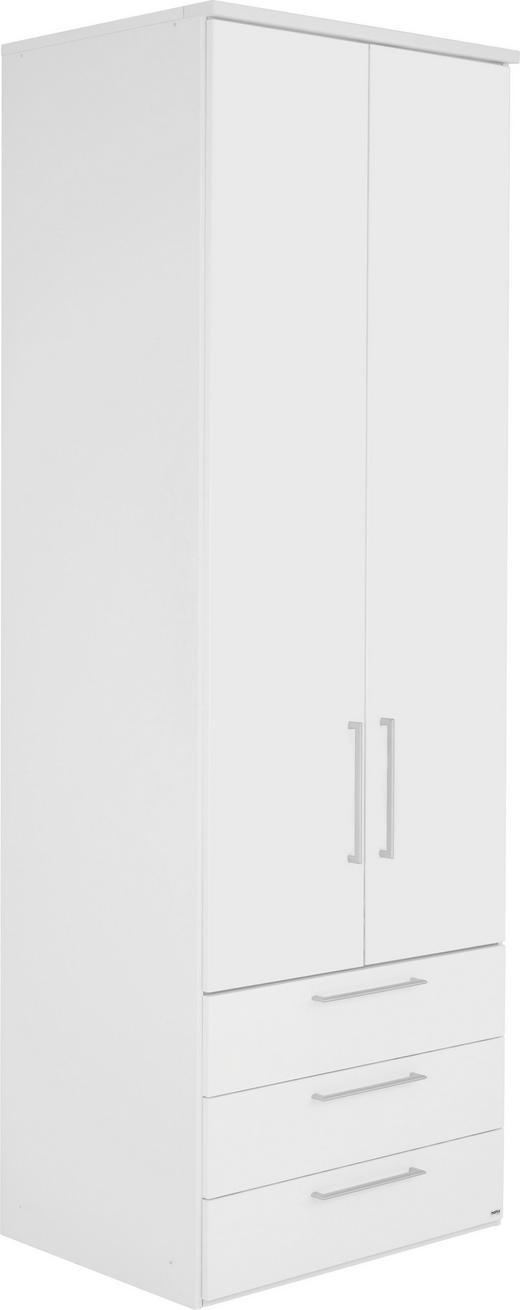 SCHRANK in Weiß - Alufarben/Weiß, KONVENTIONELL, Holzwerkstoff/Metall (80/242/64cm) - Visionight