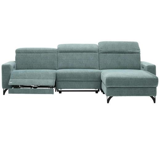 WOHNLANDSCHAFT in Textil Blau - Blau/Schwarz, Design, Textil/Metall (278/176cm) - Sedda