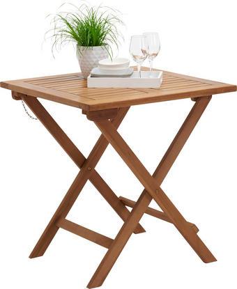 ZAHRADNÍ SKLÁPĚCÍ STOLEK - barvy teak, Design, dřevo (70/70/75cm) - Ambia Garden
