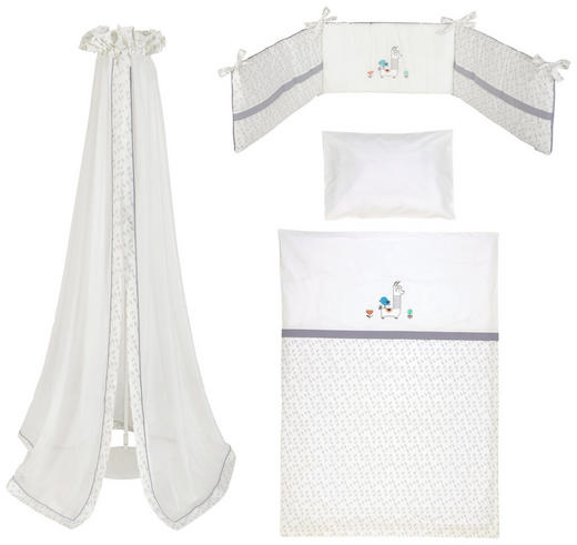 GITTERBETTSET 3-teilig Lama - Grau, Basics, Textil (100/135cm)