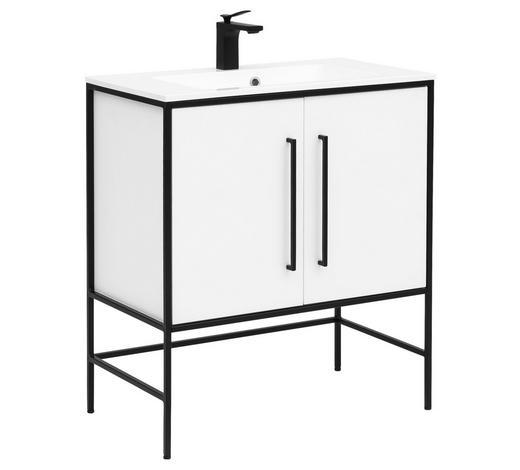 WASCHTISCHKOMBI 77,5/89,5/45 cm - Schwarz/Weiß, Design, Holzwerkstoff/Stein (77,5/89,5/45cm) - Stylife