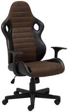PISARNIŠKI STOL kovina, tekstil, umetna masa črna, rjava - črna/rjava, Design, kovina/umetna masa (62/112-122/62cm) - Xora