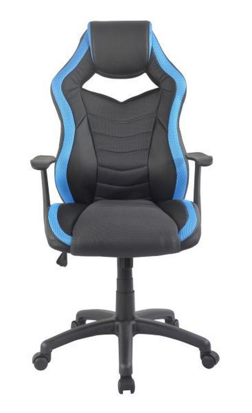 GAMINGSTUHL Blau, Schwarz Kunststoff, Metall, Textil - Blau/Schwarz, Design, Kunststoff/Textil (62/112,5-122/68cm) - Hom`in