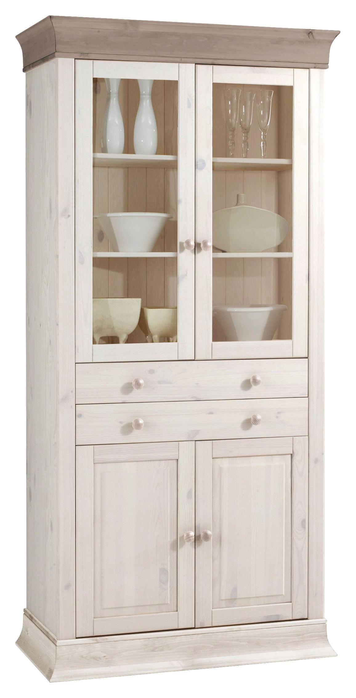 VITRINE Kiefer massiv Grau, Weiß - Weiß/Grau, Design, Holz (94/195/45cm) - CARRYHOME