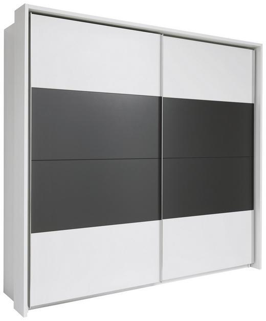 SCHIEBETÜRENSCHRANK 2-türig Dunkelgrau, Weiß - Dunkelgrau/Alufarben, Design, Holzwerkstoff/Metall (240/226/60cm) - Xora