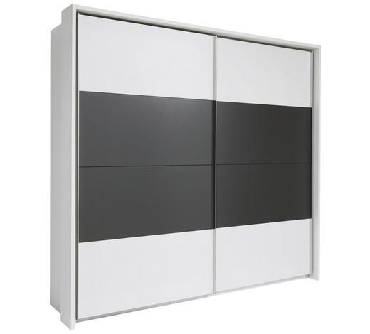 SKŘÍŇ S POSUVNÝMI DVEŘMI, 2, bílá, tmavě šedá - bílá/tmavě šedá, Konvenční, kov/kompozitní dřevo (240/226/60cm) - Xora