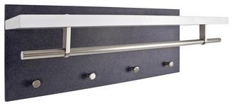 WANDGARDEROBE - Edelstahlfarben/Schwarz, Design, Holzwerkstoff/Metall (75/30/26cm) - Carryhome