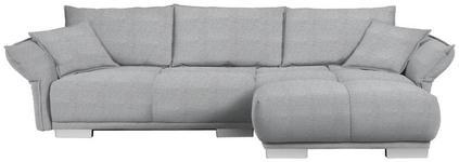 WOHNLANDSCHAFT in Textil Hellgrau - Chromfarben/Hellgrau, MODERN, Kunststoff/Textil (310/203cm) - Hom`in