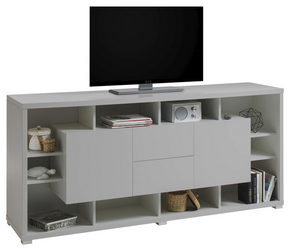 MEDIABÄNK - ljusgrå/silver, Design, träbaserade material (190/86/48cm)
