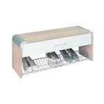 GARDEROBENBANK Weiß, Sonoma Eiche  - Silberfarben/Weiß, Design, Holzwerkstoff/Kunststoff (97/40/32cm) - Moderano