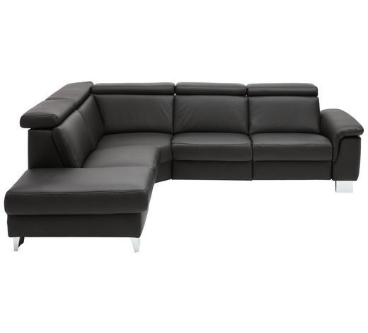 WOHNLANDSCHAFT in Leder Schwarz - Alufarben/Schwarz, Design, Leder/Metall (233/270cm) - Beldomo Premium