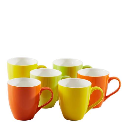 KAFFEEBECHERSET 6-teilig Keramik Porzellan Gelb, Grün, Orange - Gelb/Orange, Basics, Keramik (450mll) - Homeware